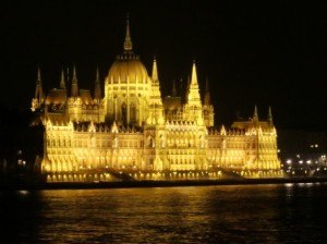 The Budapest Parliament building by night