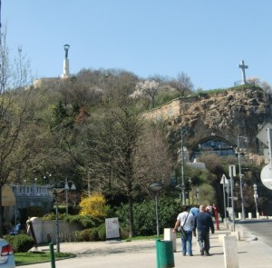 Gellert Hill, the Liberty Statue on top and the Cave Chapel on the right